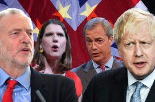 Corbyn Johnson Swinson Farage Elections UK