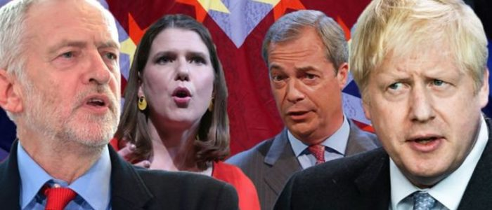 Corbyn Johnson Swinson Farage Elections UK